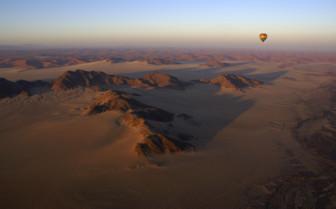 Hot air balloon over Namib Desert