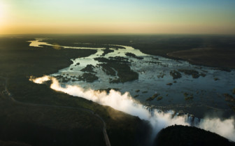 Sunset skies Victoria Falls
