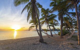 Beachside hammock at sunset