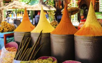 Spice pyramids at a Moroccan market