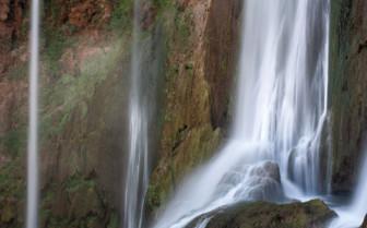 Cascading mountain waterfall