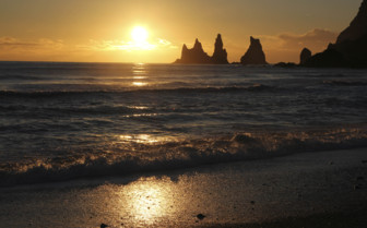 Reynisdrangar sunset in Southern Iceland