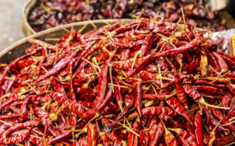 Red hot chillies at Yangon market
