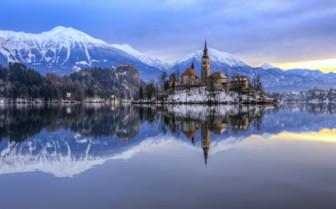 Lake Bled snowy scene