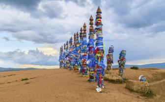 Totem poles on Olkhon Island by Lake Baikal
