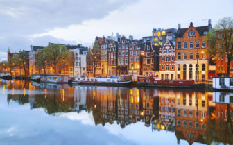 Evening view of Amsterdam