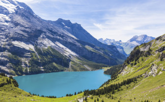 Oeschinen lake on Bernese Oberland