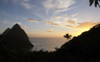 Pitons in the sunset