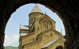 Svetitskhoveli church and castle complex panorama in Mtskheta