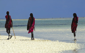 Tanzanian Coast Masi People on the Beach