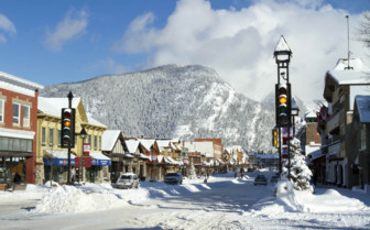 Banff Village in the Rockies Mountain