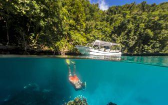 Diving off rock islands