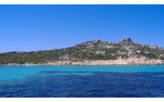 View from the sea of the Sardinian Coast