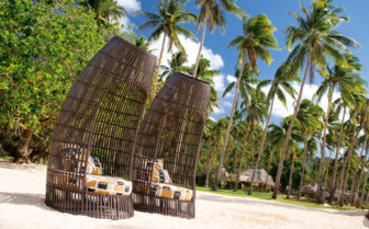 Picture of beach chairs on Laucala Island Beach
