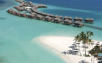 Aerial view of Constance Halaveli Resort, luxury hotel in the Maldives