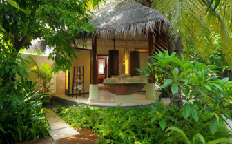 Outdoor spa area at the hotel