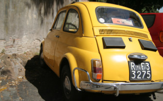 Yellow car in Rome