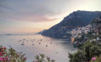 View across Amalfi Coastline at dusk