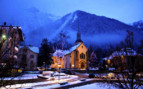 Church by night in Chamonix