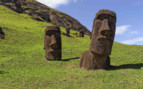 Two Moai Heads Sunken in the Grass