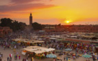 Marrakech market at sunset