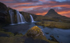 Sunset over Kirkjufell mountain