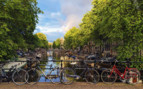 Bikes by the canal in Amsterdam