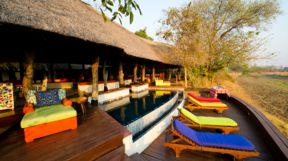Main Pool Area at Thorntree River Lodge, Zambia