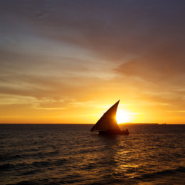 Picture of sunset and dhow Pemba island